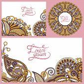 set of floral decorative background, template frame design for c