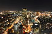 stock photo of prudential center  - Boston John Hancock Tower and Back Bay Skyline at night - JPG