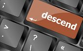 picture of descending  - descend button on computer pc keyboard key - JPG