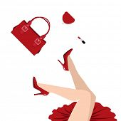 falling woman in red dress with handbag, purse and lipstick