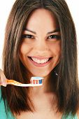 Young Woman With Toothbrush Cleaning Her Teeth