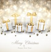 Golden winter background. Fallen defocused snowflakes. Christmas gifts. Vector illustration.