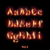 Fire Burning Latin Alphabet Letters. Set Vol.1 A-I