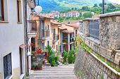 Typical houses. View of Brienza. Basilicata. Southern Italy.