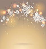 Shining snowflakes on golden background. Holiday seasonal card.