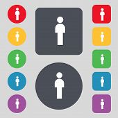 Human sign icon. Man Person symbol. Male toilet. Set colour buttons. Vector