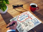 Businessman Sketching About Digital Marketing Concept