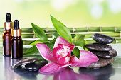 Spa stones, orchid, bamboo branches and aroma oil on table on light background