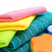 Colorful Cloths Microfiber And Towels Isolated On A White Background