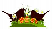 picture of grass bird  - vector easter eggs and birds in grass isolated on white background - JPG