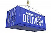 Next Day Delivery - Blue Hanging Cargo Container.