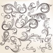 Collection Of Vector  Hand Drawn Swirl Ornaments In Vintage Style