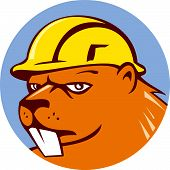 Beaver Construction Worker Circle Cartoon