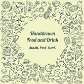 stock photo of freehand drawing  - background with hand drawn doodle food icons - JPG