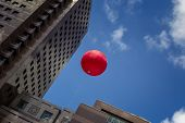 Red Baloon Over Modern Architecture