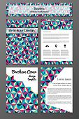 brochure and flyer design templates  set with triangular abstarct pattern