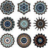 Set of mandalas in turkish style