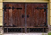 stock photo of wooden shack  - old wooden barn door - JPG