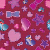 Pattern texture with hearts and stars