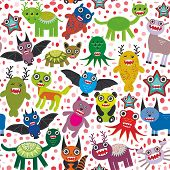 Cute cartoon Monsters seamless pattern  white background. Vector