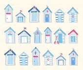 image of beach hut  - Hand Drawn Blue and Pink Beach Huts on a Light Background - JPG