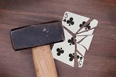Hammer With A Broken Card, Five Of Clubs