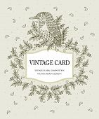 Vintage card in pastel colors with a stylized bird. Vector illustration.