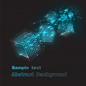 background flying colored blue cubes in space.vector illustration