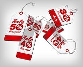Sale poster with price tags with percents falling and flying. Red design template for sale event.