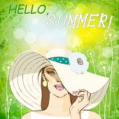girl in white hat on green summer background.vector illustration