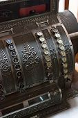 stock photo of cash register  - brown vintage cash register at the pharmacy  - JPG