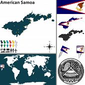 picture of samoa  - Vector map of American Samoa with coat of arms and location on world map - JPG