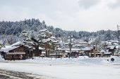 Snow Is Falling In Takayama, Japan.