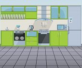 Modern green kitchen interior