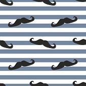 stock photo of mustache  - Seamless mustache vector background - JPG