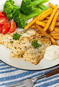 image of catfish  - Fried Catfish fillet with vegetables - JPG