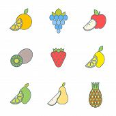 Colored Outline Various Fruits Icons.