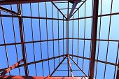 picture of roof-light  - steel structure under the roof of building - JPG