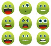 Collection Of 9 Green Monster Emoticons