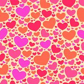 Elegant seamless vector pattern with hearts. Valentine's Day