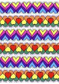 Colorful ornament of hearts. Abstract background texture. Hand drawn.