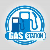 image of petrol  - Stamp Gas Station in blue with petrol pumps - JPG