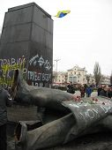 Thrown Big Monument To Lenin In February 22, 2014