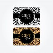 Set Of Gift Or Vip Cards With Trendy Leopard Pattern, Vector