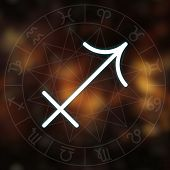 Zodiac Sign - Sagittarius. White Thin Simple Line Astrological Symbol On Blurry Abstract Background