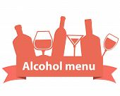 Alcohol menu. Ribbon with bottles and wineglass. Vector illustration