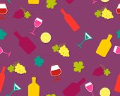 Background alcoholic beverages. Bright background with wine and grapes. Vector seamless pattern