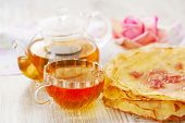 Crepes, Cup Of Tea And Rose Petal Jam