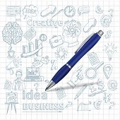 picture of creativity  - Creative poster with pen and sketch business and creativity symbols on squared background vector illustration - JPG
