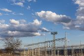Electricity Distribution Infrastructure And Cloudy Sky